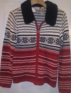 Nordic Liz Claiborne Scandinavian Zip Sweater